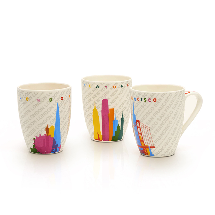 Country Style Ceramic Colorful Mug 4 Pcs Ceramic Coffee Mugs in Multicolor Colour by Living Essence