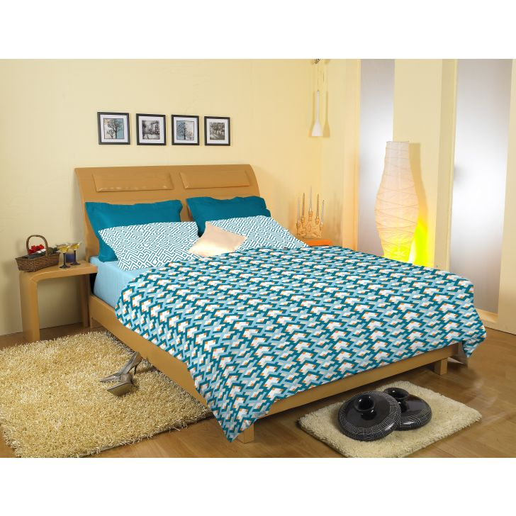Striped Printed Cotton Double Bedsheet in Blue Colour by Easy Life