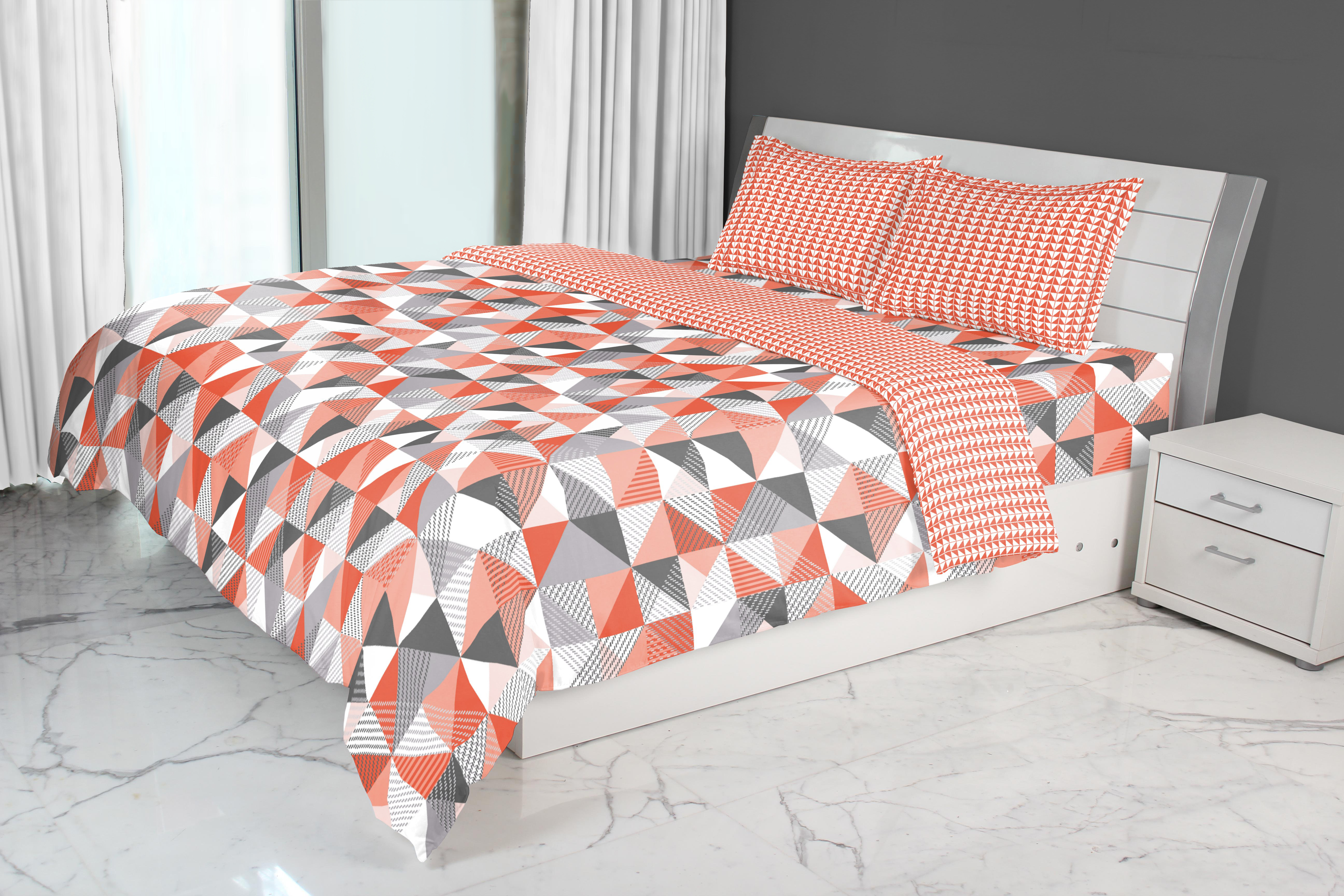Emilia Double Comforter Red Cotton Comforters in Red Colour by Living Essence