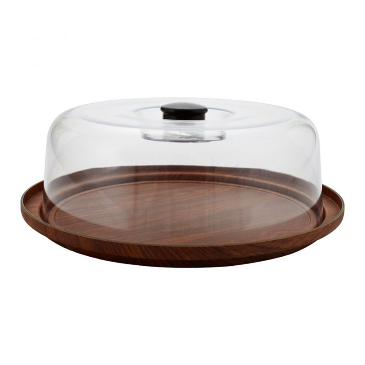 Oak Bread Serving Tray With Cover Plastic Trays in Wooden Finish Colour by Living Essence