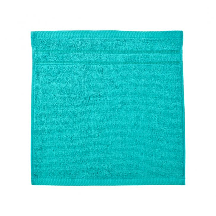 Nora Combed Cotton Face Towels in Turquoise Colour by Living Essence