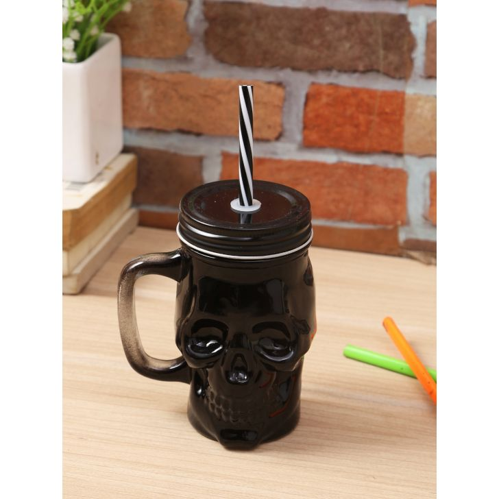 Living Essence Glass Modern Skull Sipper in Black Colour by Living Essence