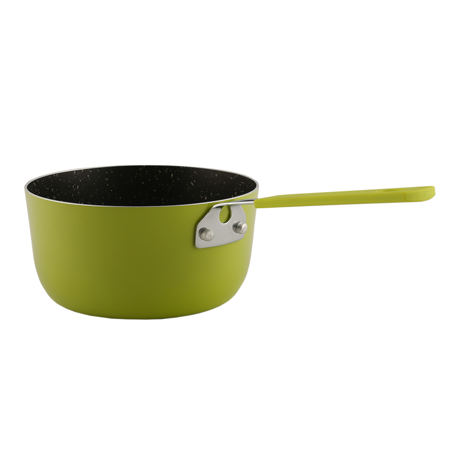 Mini Sauce Pan 14Cm Lime Pressed Alluminium Sauce Pans in Lime Colour by Living Essence