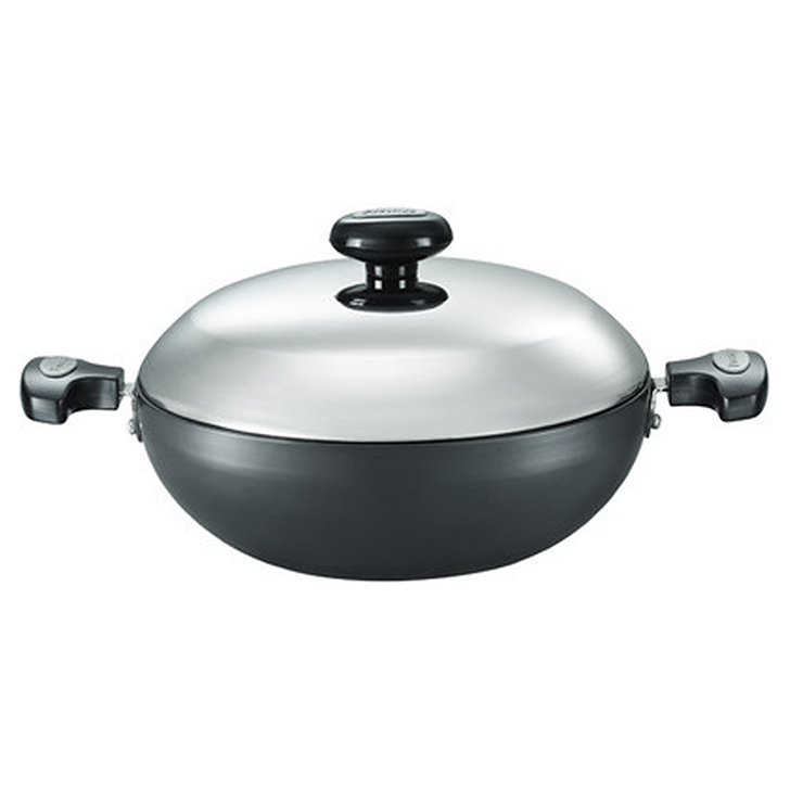 Prestige Hard Anodized Kadhai 240 mm With Lid Aluminium Kadhai & Wok in Black Colour by Prestige
