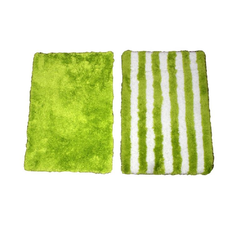 Spaces Bath Carnival Set Of 2 Lime And White Cotton Bath Mat - Small