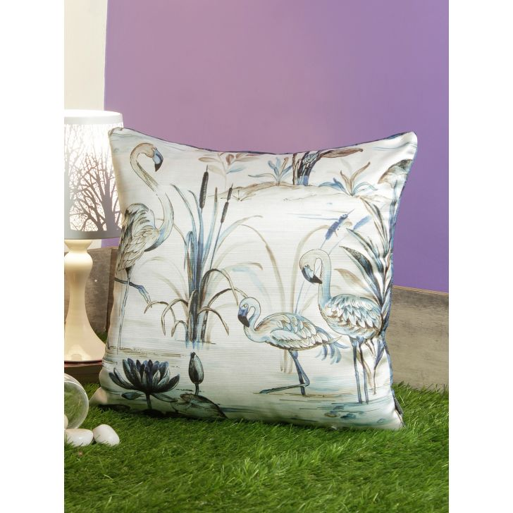 Digi Flamongo Pvc Cushion Covers in Blue Colour by Living Essence