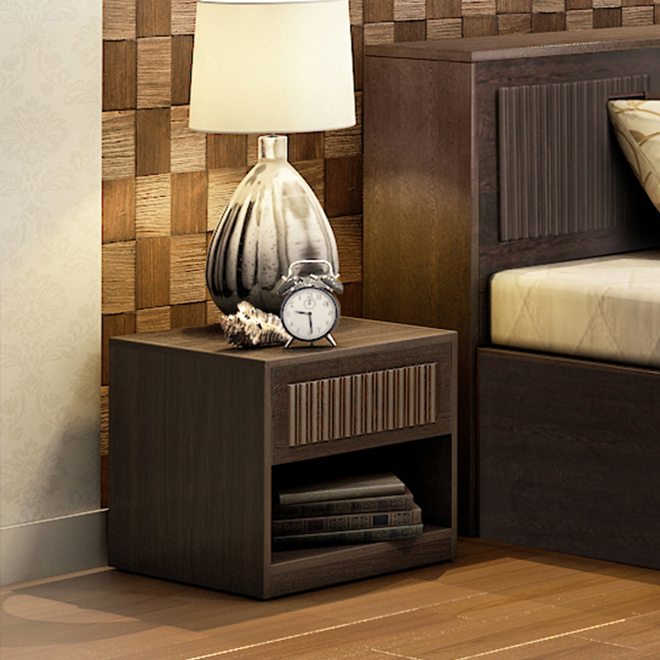 Tiago Engineered Wood Bedside Table in Wenge Colour by HomeTown