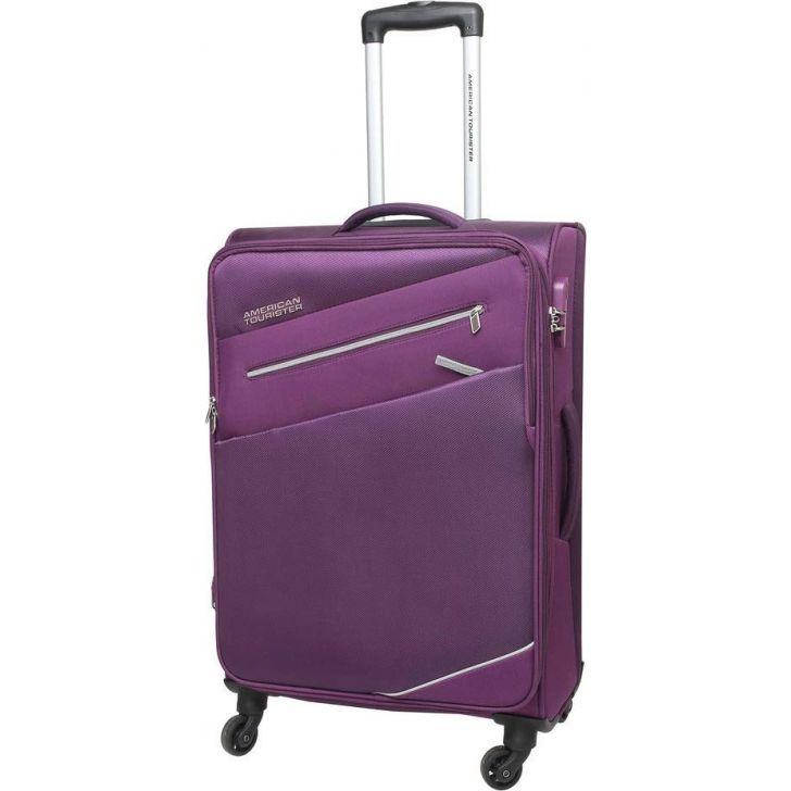 Fiji 58 cm Polyester Soft Trolley in Purple Colour by AMERICAN TOURISTER