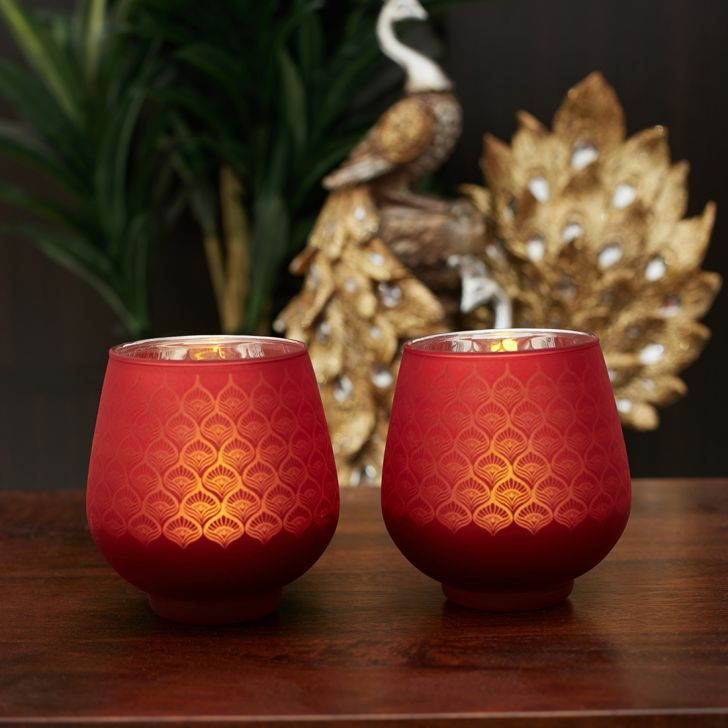 Zahara Set Of 2 Peacock Etched Glass Candle Holders in RED Colour by Living Essence