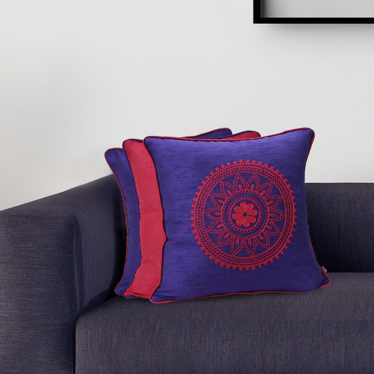 Set Of 3 Cc 16X16 Fiesta Purple Polyester Cushion Cover Sets in Purple Colour by Living Essence