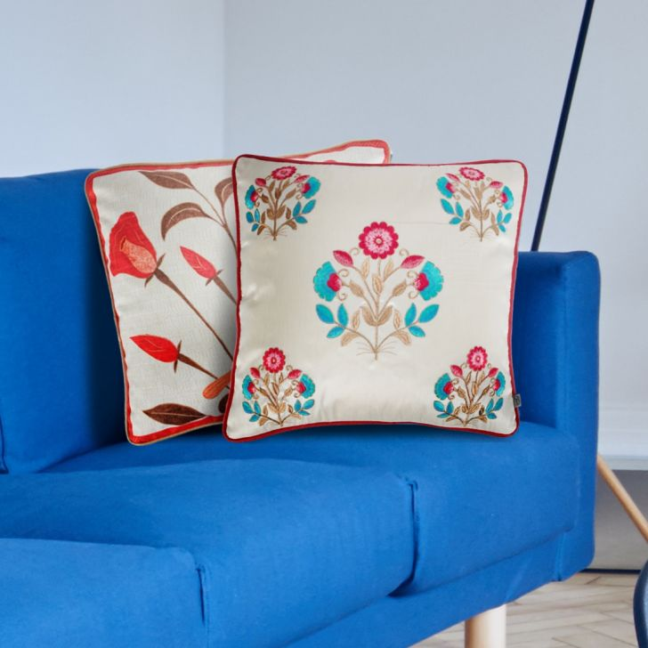 Palace Life Bhutta Velvet Cushion Covers in Blue Pink Colour by Living Essence