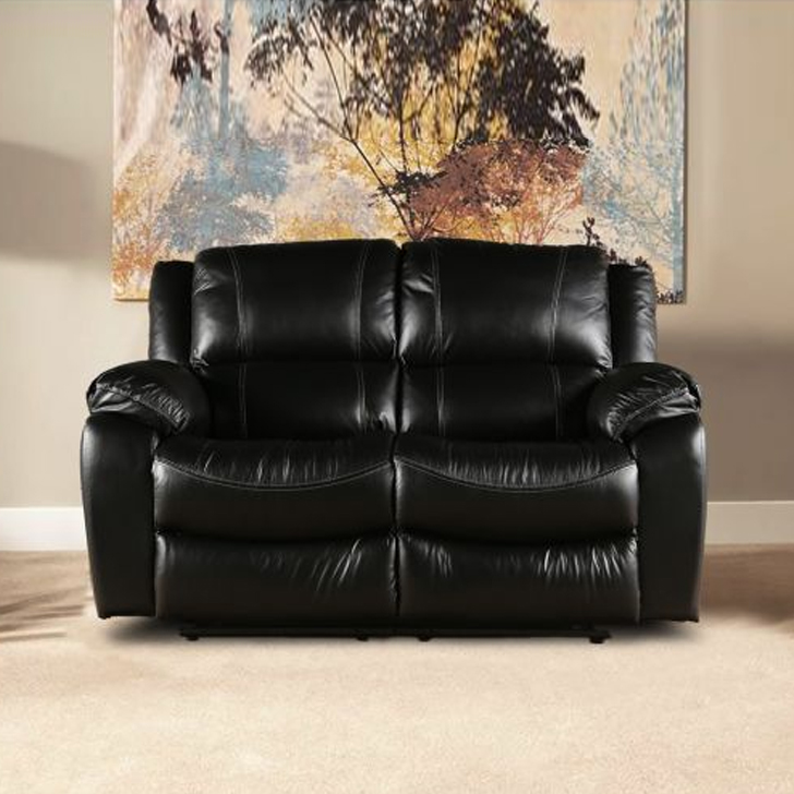 Bristol Half Leather Two Seater Recliner in Black Colour by HomeTown