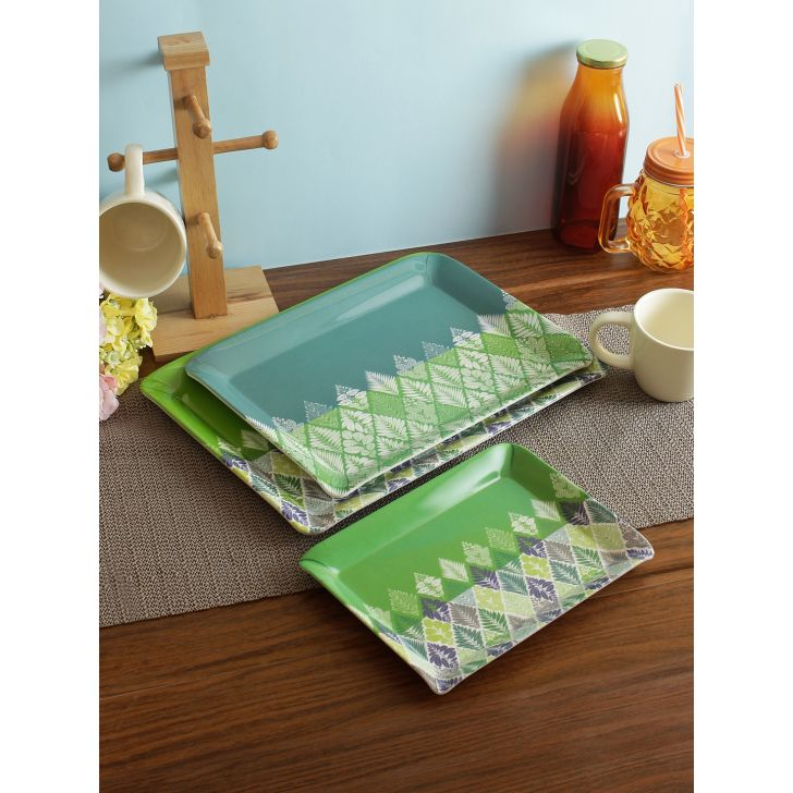 Fiesta Melamine Tropical Trays Set of 3 in Multi Colour by Living Essence