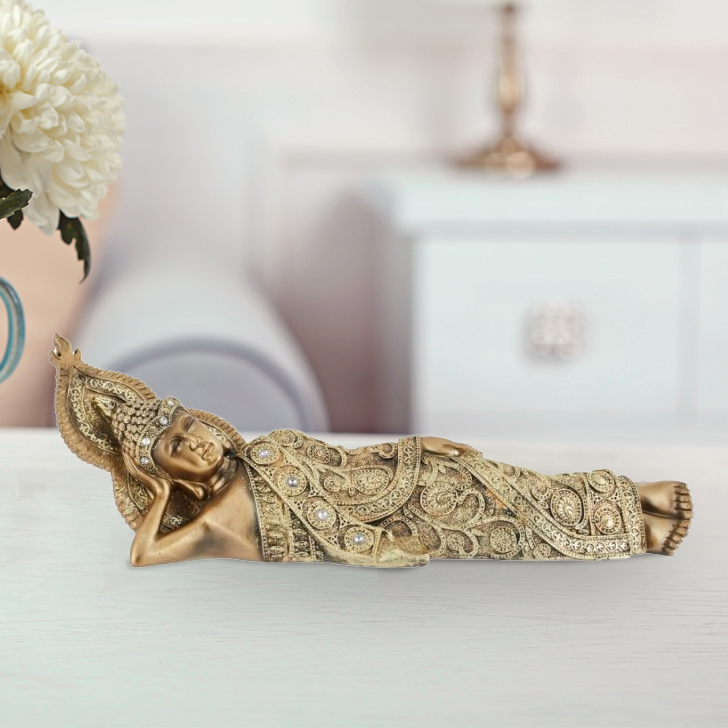 Fio Sleeping Buddha Gold Polyresin Idols in Gold Colour by Living Essence