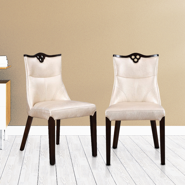 Alston Solid Wood Dining Chair Set of Two in Ivory Colour by HomeTown
