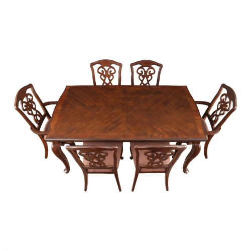 ae32520211 Astoria Solid Wood Six Seater Dining Set in Dark Brown Colour by HomeTown