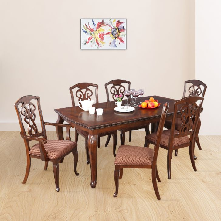 Astoria Solid Wood Six Seater Dining Set in Dark Brown Color by HomeTown