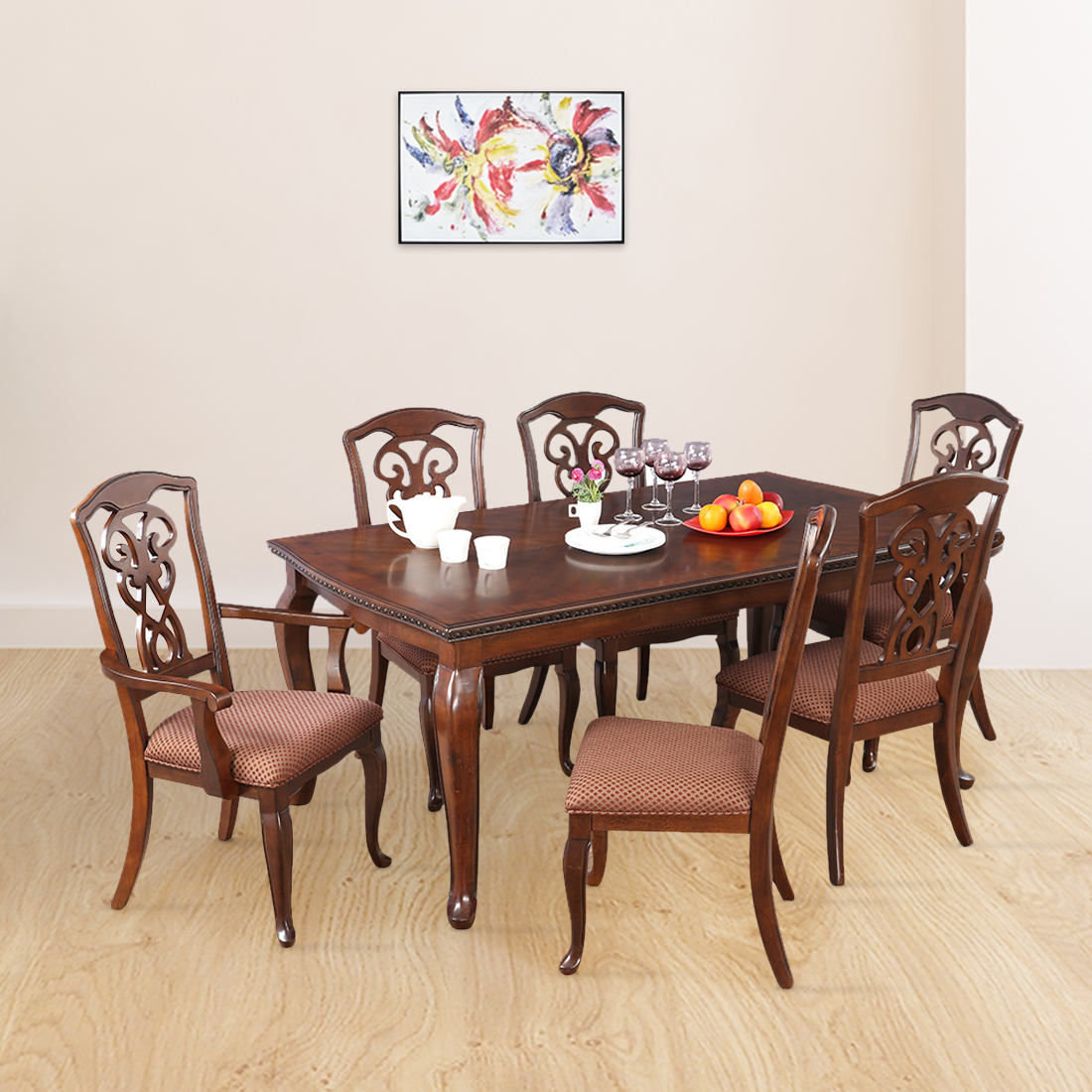 Astoria Solid Wood Six Seater Dining Set in Dark Brown Colour by HomeTown