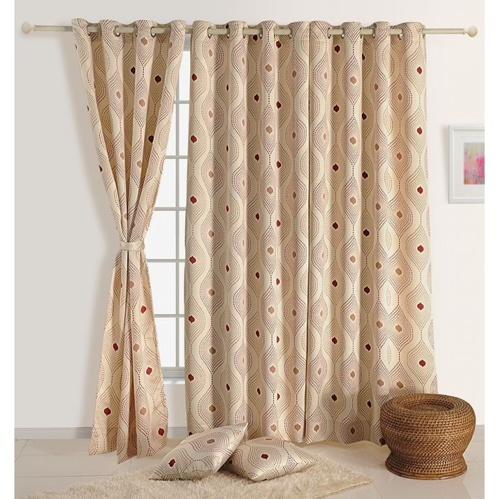 Abstract Window Curtain In Cream & Maroon Color By Swayam