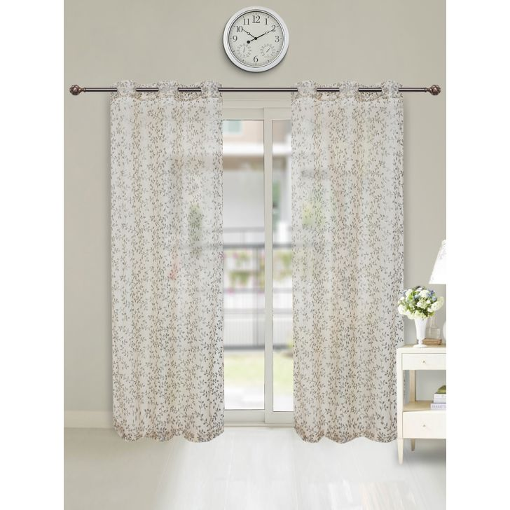 Amour Sheer Set of 2 Polyester Door Curtains in Blush Colour by Living Essence