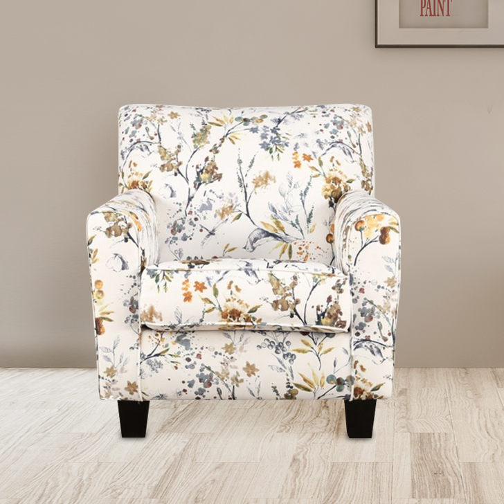 Nicholas Fabric Arm Chair in Ivory Colour by HomeTown