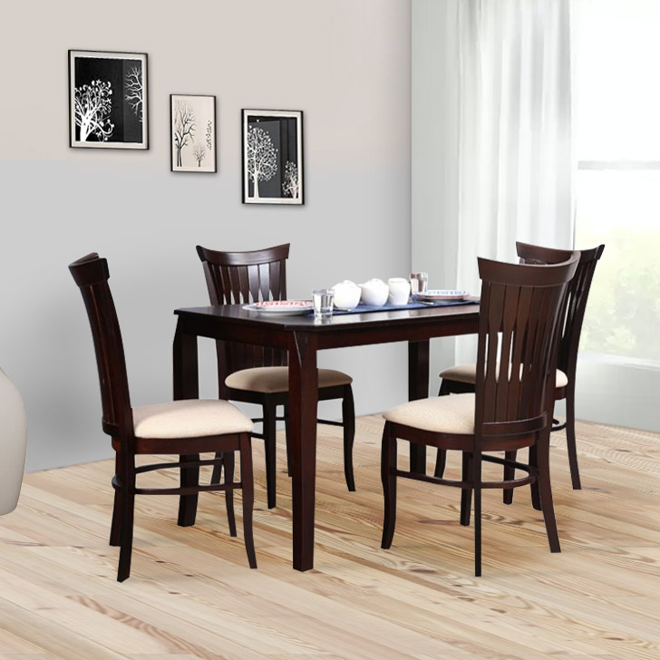 Cardiff Rubber Wood Four Seater Dining Set in Expresso Colour by HomeTown
