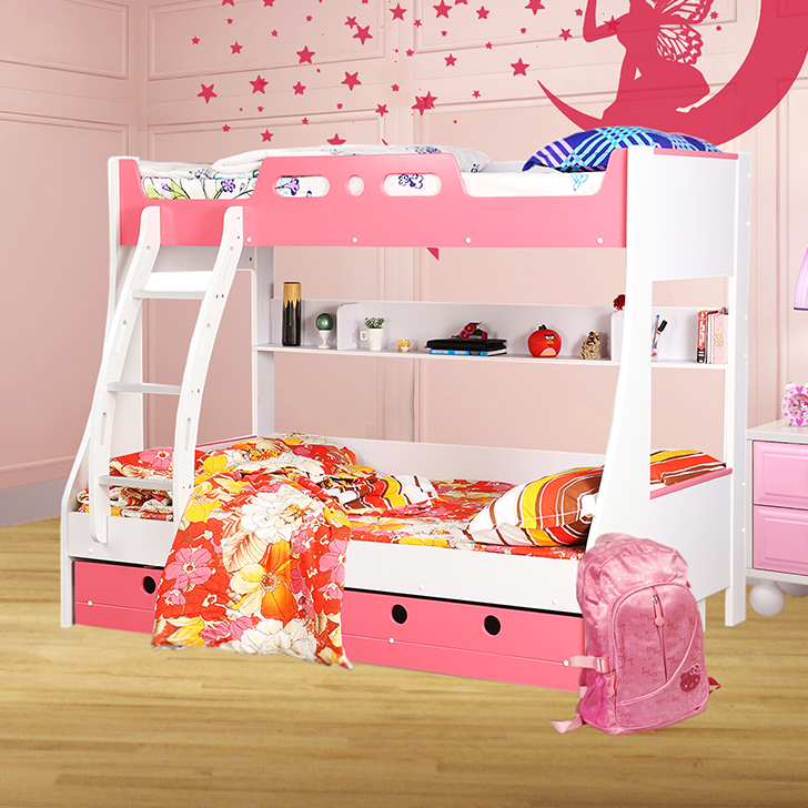 Jerry Engineered Wood Bunk Bed in Pink Colour by HomeTown