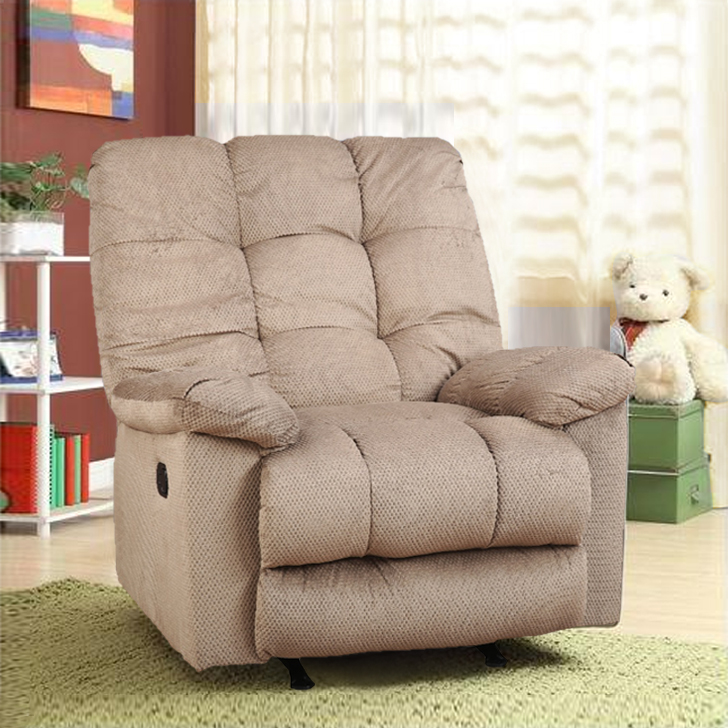 Elliot Fabric Single Seater Recliner in Light Brown Colour by HomeTown