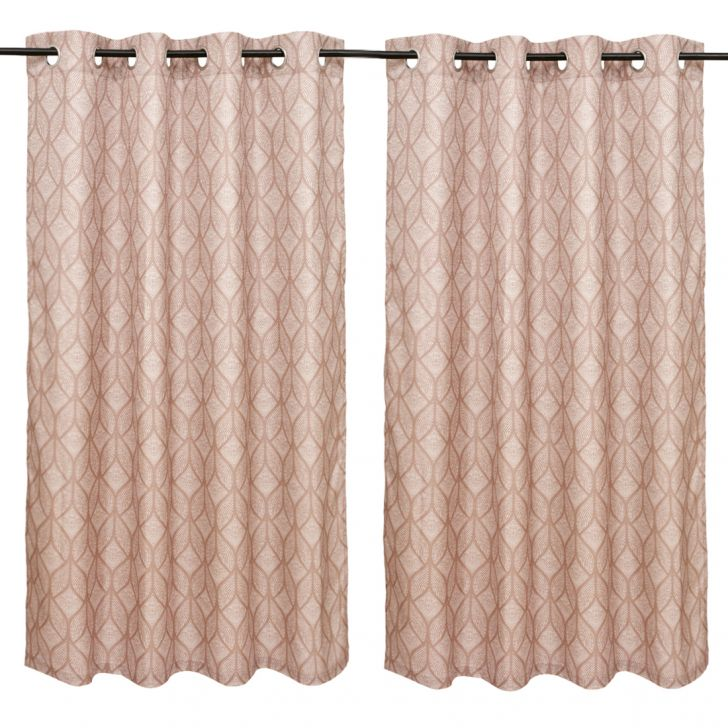 Nora Printed set of 2 Polyester Window Curtains in Beige Colour by Living Essence