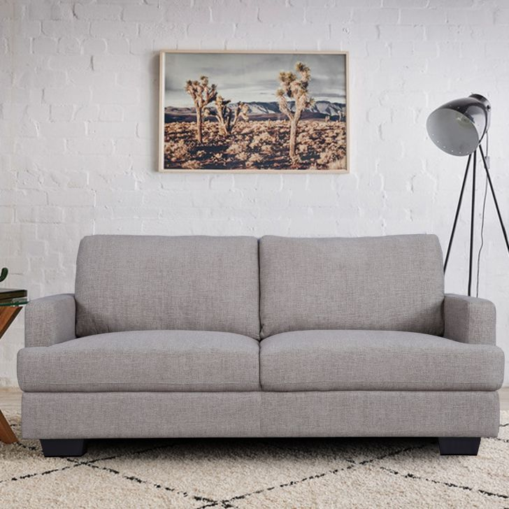 Marley Solid Wood Three Seater Sofa in Oat Colour by HomeTown