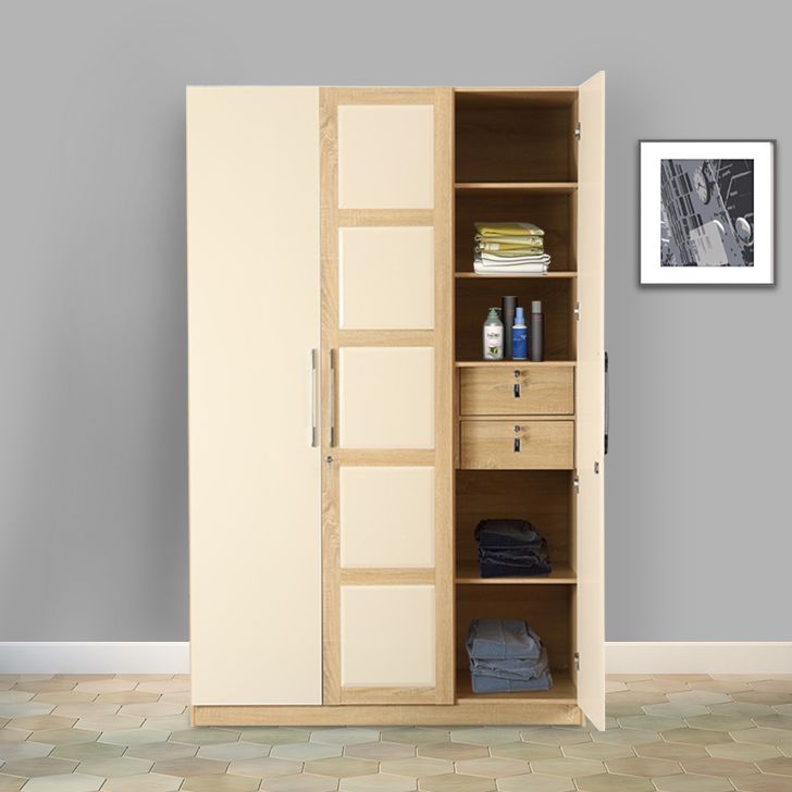 Geo Engineered Wood Three Door Wardrobe in Beige & Cream Colour by HomeTown
