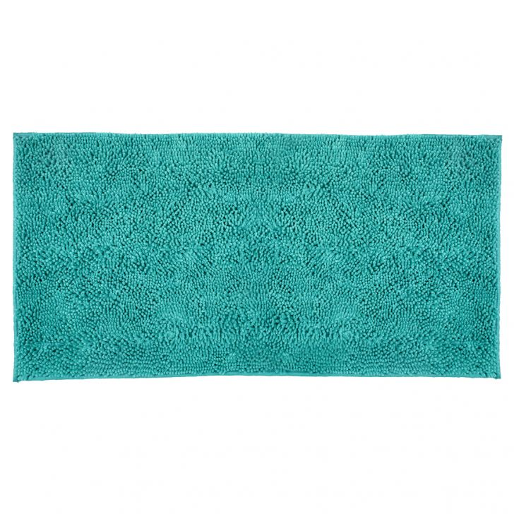 Bath Runner Nora Chenille Turquoise Chenille Bath Mats in Turquoise Colour by Living Essence