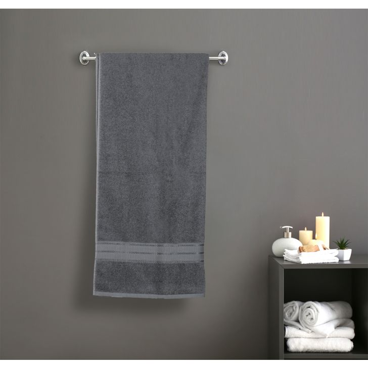 Brooks Cotton Bath Towels in Grey Colour by Dreamline
