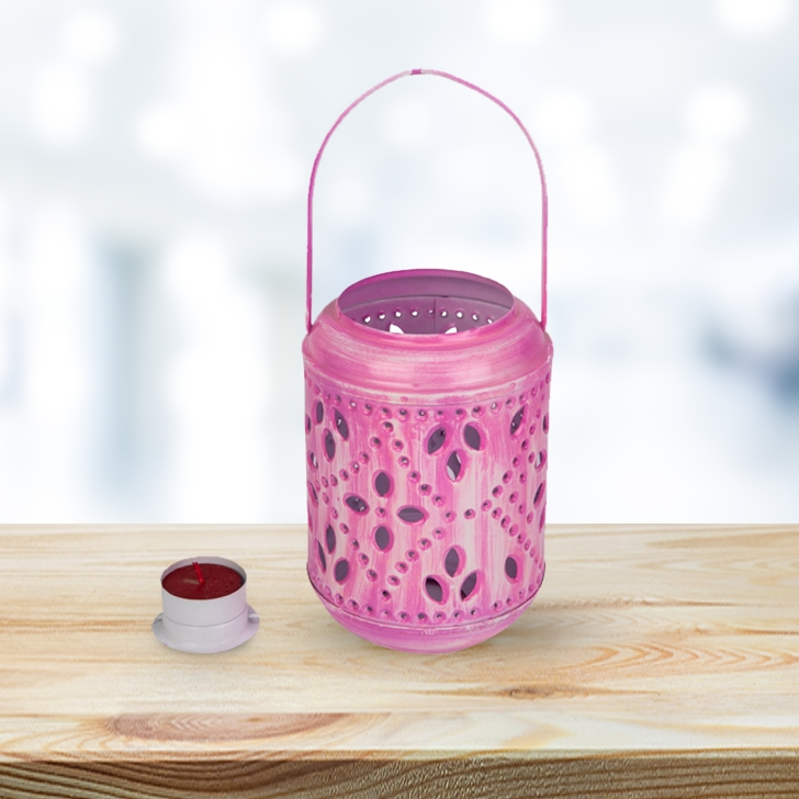 Allure Ceramic Pink Lantern. Ceramic Lanterns in Pink Colour by Living Essence