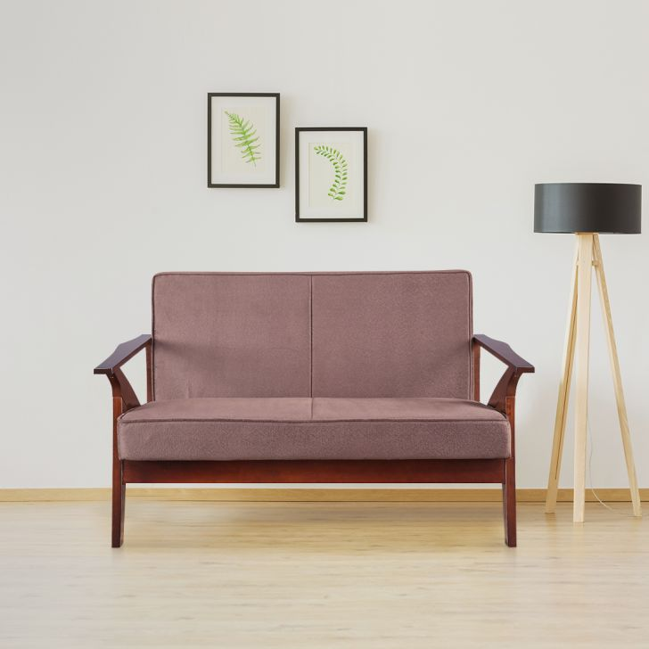 Patrick Solid Wood Two Seater Sofa in Brown Colour by HomeTown