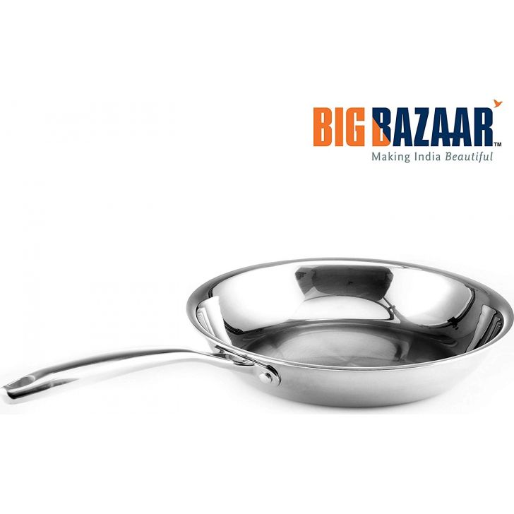 Trinox Triply Induction Base  Frypan 24 cm with Lid Stainless steel in Silver Colour by Wellberg