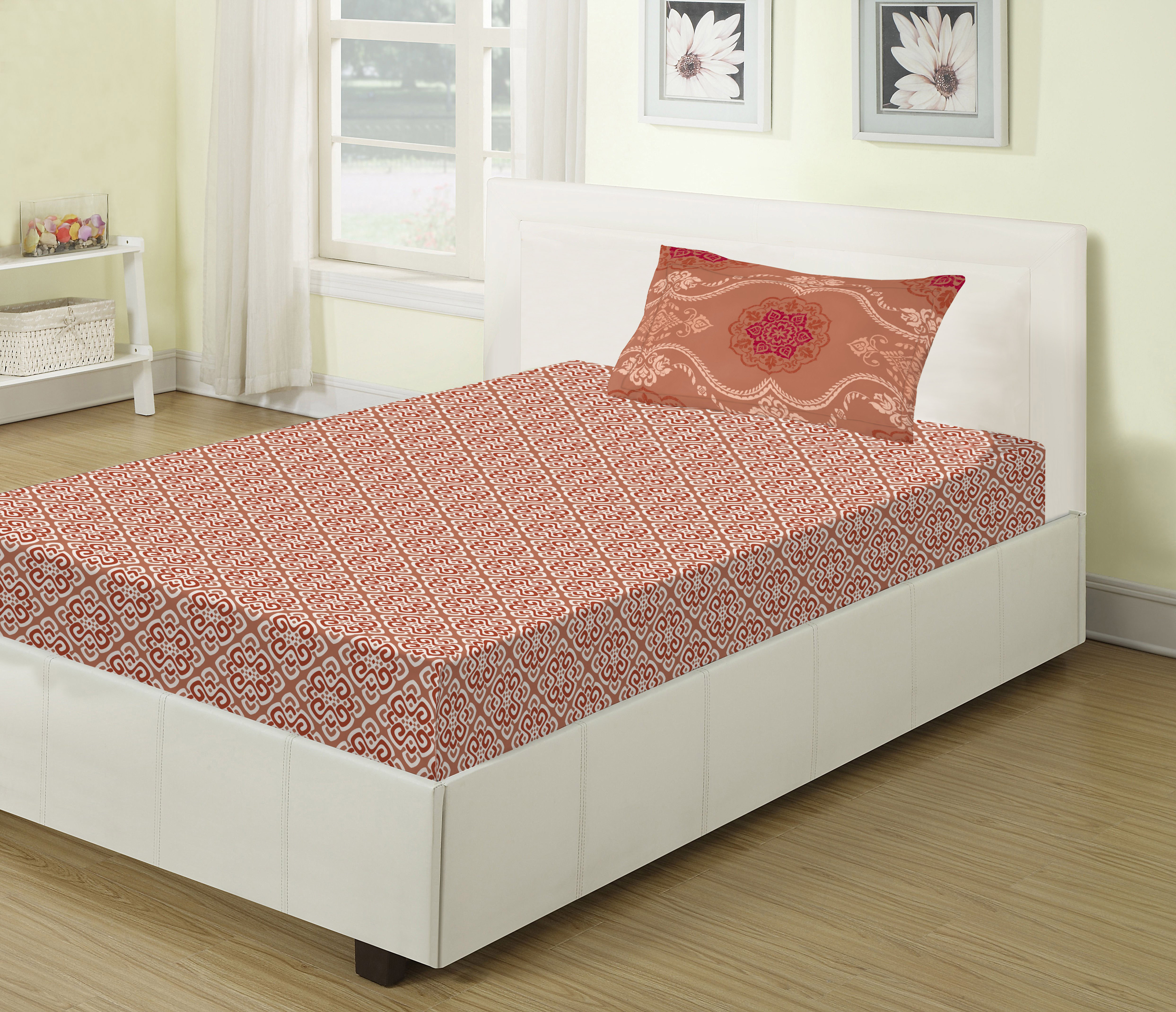 Emilia Cotton Single Bed Sheets in Rust Colour by Living Essence