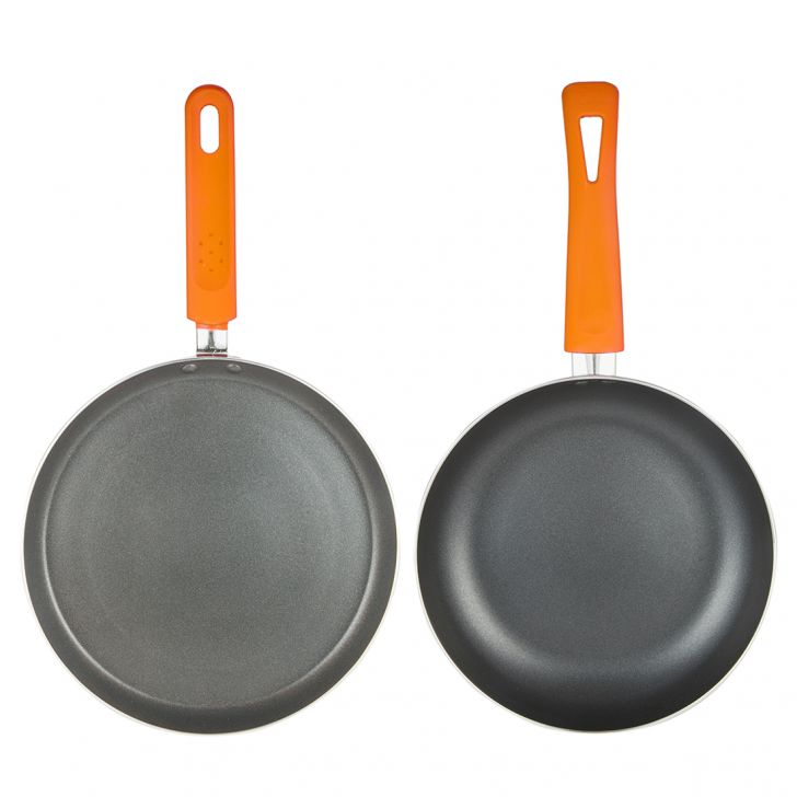 Cookware Set Of 2 Orange Pressed Alluminium Cookware Sets in Orange Colour by Living Essence