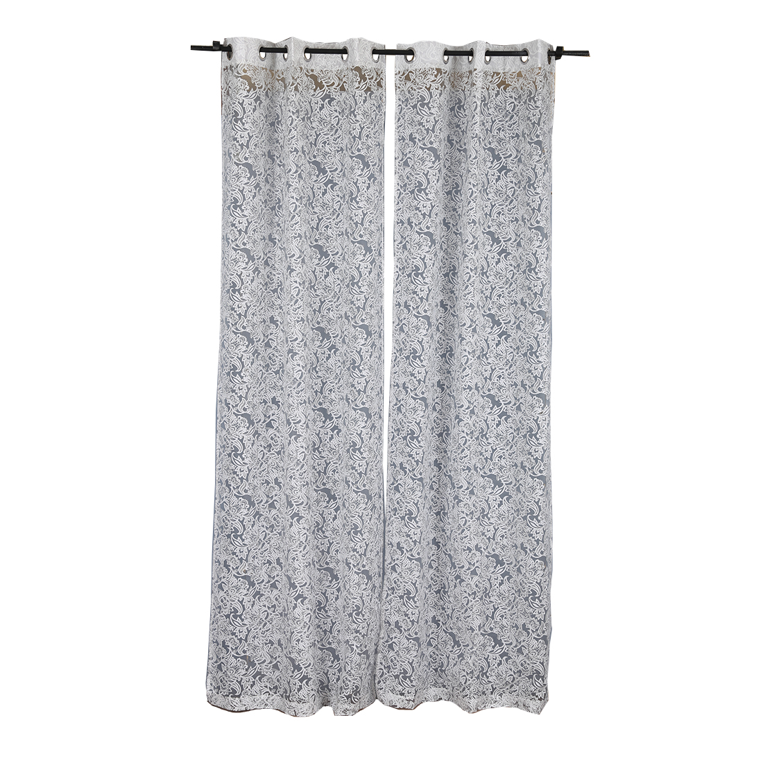 Amour Sheer Extra Large Curtain silver Set of 2 Cotton Polyester Sheer Curtains in Silver Colour by Living Essence