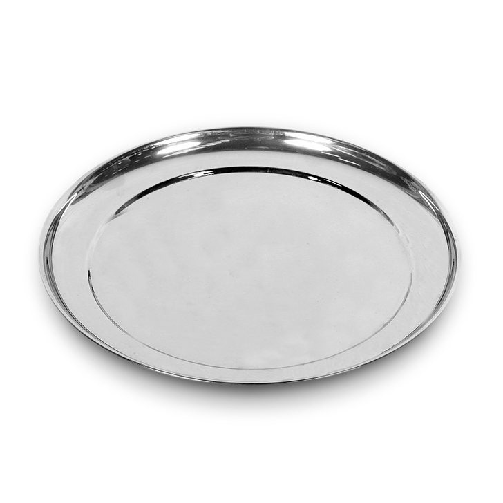 Rajbhog Plate Dia 10 inches Stainless steel Plates in Silver Colour by Living Essence