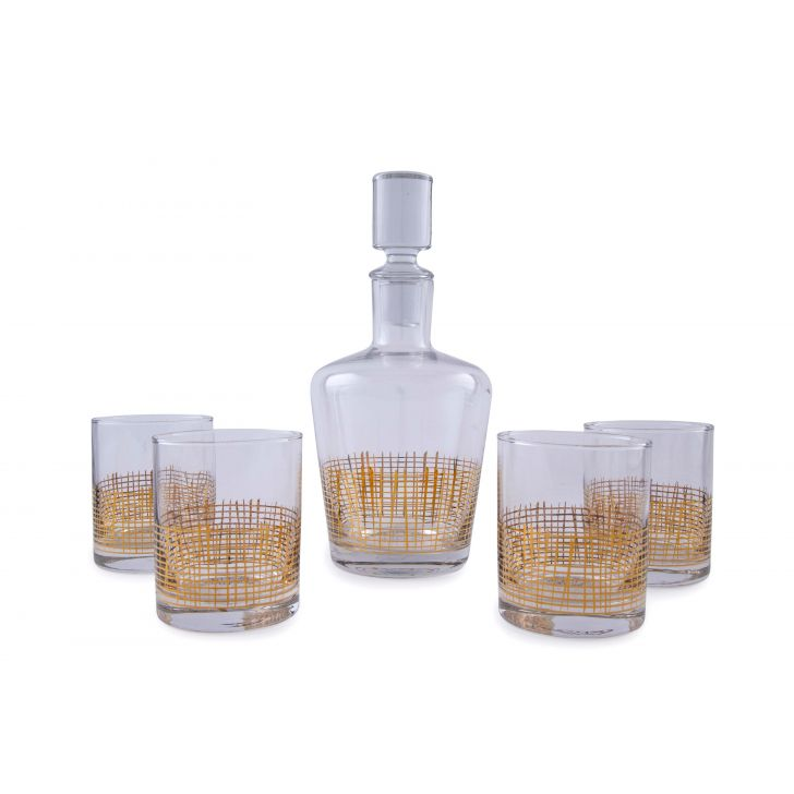 Oasis Whisky 5 Pcs Set Glass Wine Serving in Transparent & Gold Colour by Living Essence