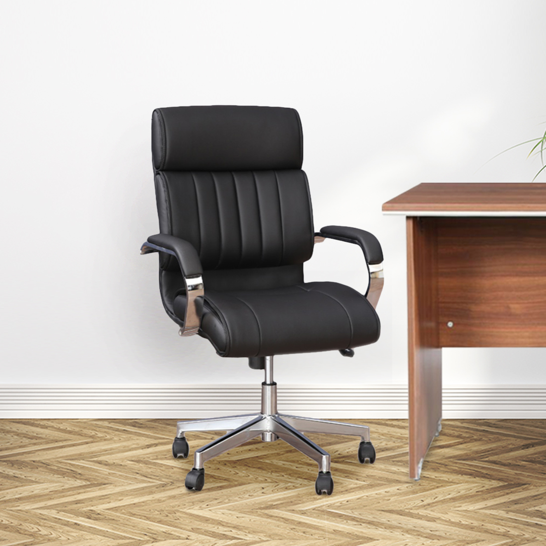 Quadra Mid Back Office Chair in Black Colour by HomeTown