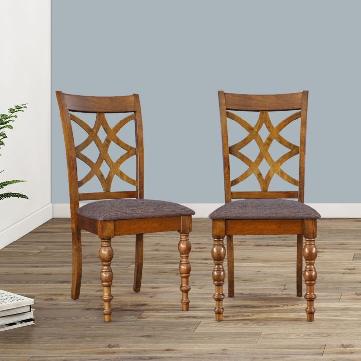 Tobago Solid Wood Dining Chair Set of Two in Brown Colour by HomeTown