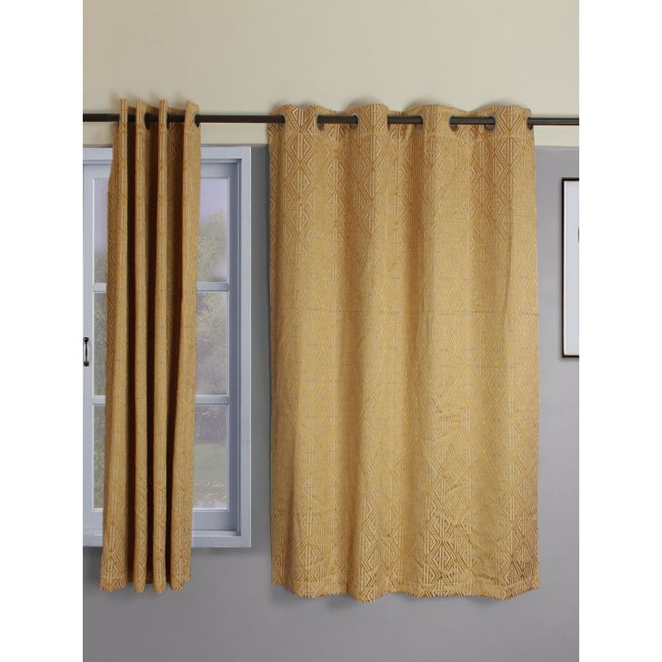 Amour  Set Of 2 Semi Blackout Window Curtain 135X160 CM in Mustard Colour by Living Essence