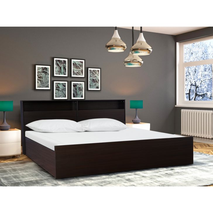 Alex Engineered Wood King bed with Box storage in Dark Walnut Colour by HomeTown