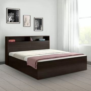 Buy Alex Engineered Wood Box Storage King Size Bed In Dark Walnut