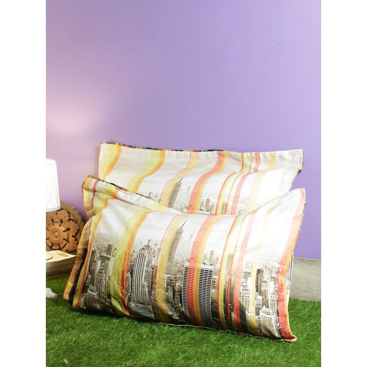 Set Of 2 Nora Palette Digi Printed Polyester Pillow Covers in Grey Colour by Living Essence