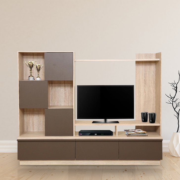 Clover Engineered Wood TV Unit in Light Oak & Dark Brown Colour by HomeTown