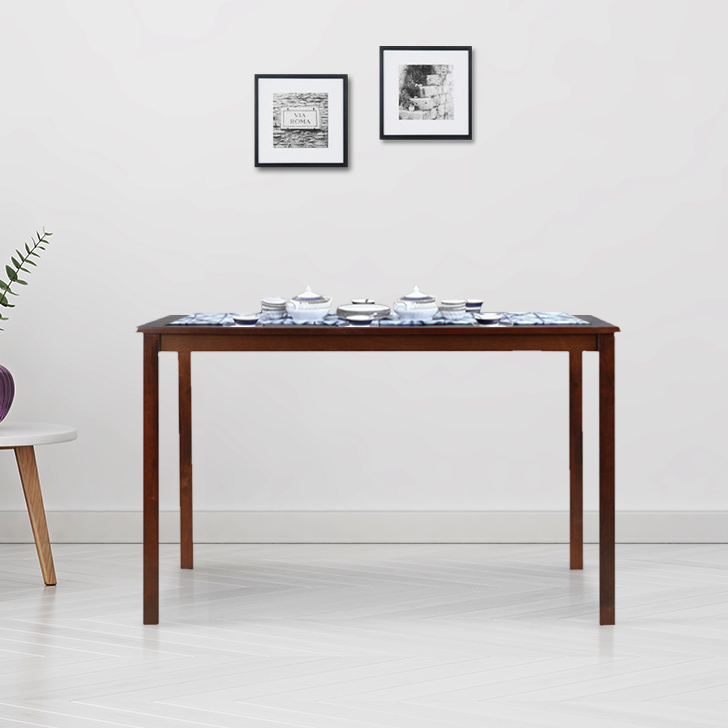 Stella Solid Wood Four Seater Dining Table in Dark Walnut Colour by HomeTown