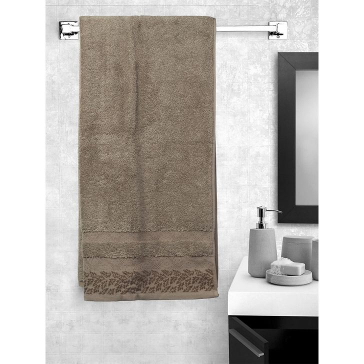 Portico New York Ariana Jacquard : B Bath Towel in Brown Bn Color by Portico